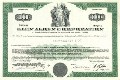1000 долларов (акция «Glen Alden Corporation») 1960 года (США)