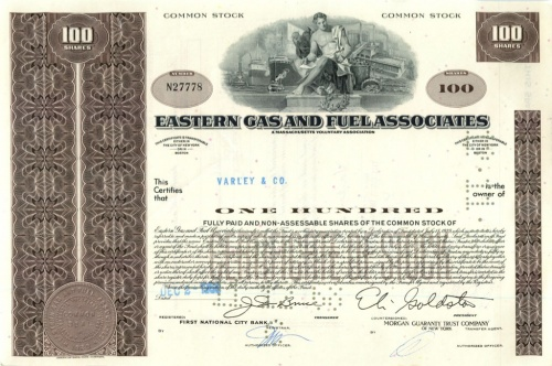 100 акций («Easter Gas And Fuel Associates») 1968 года (США)