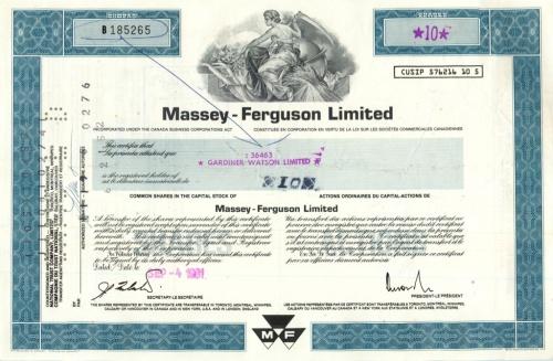 10 акций («Massey-Ferguson Limited») 1981 года (США)