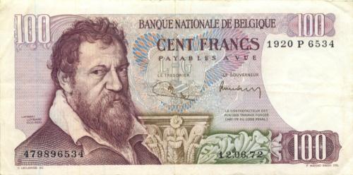 100 франков 1972 года (Бельгия)