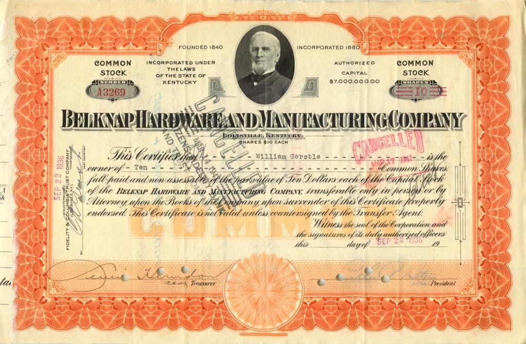 10 акций «Belknap Hardware and Manufacturing Company» 1936 года (США)