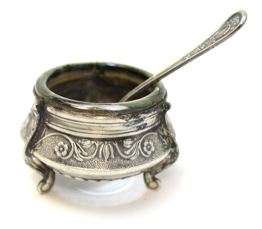 Солонка сложечкой (мельхиор, клейма, 3,5 см, 7,5 см) (СССР)