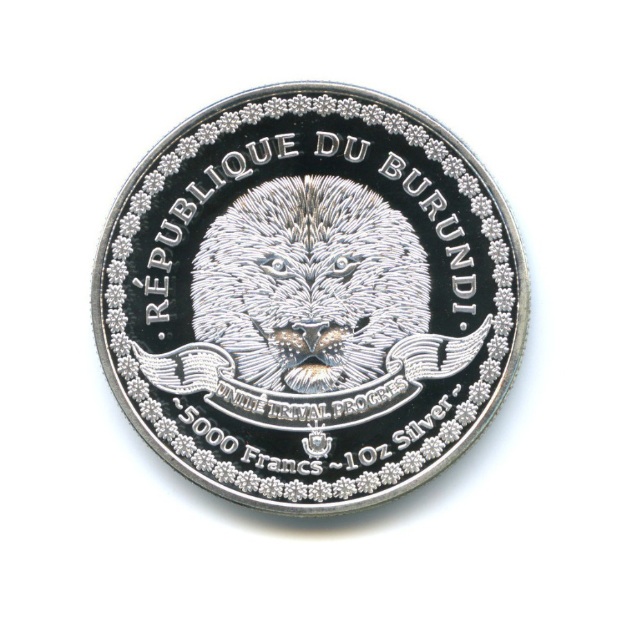 5000 франков - Удивительная морская жизнь, Республика Бурунди (вцвете), серебрение 2014 года
