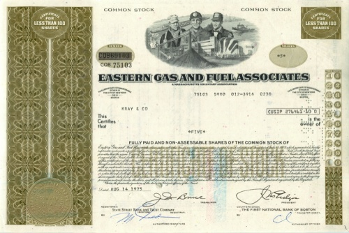 5 акций «Eastern Gas and Fuelssociates» 1975 года (США)