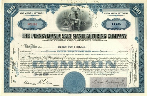 100 акций «The Pennsylvania Salt Manufactures Company» 1950 года (США)