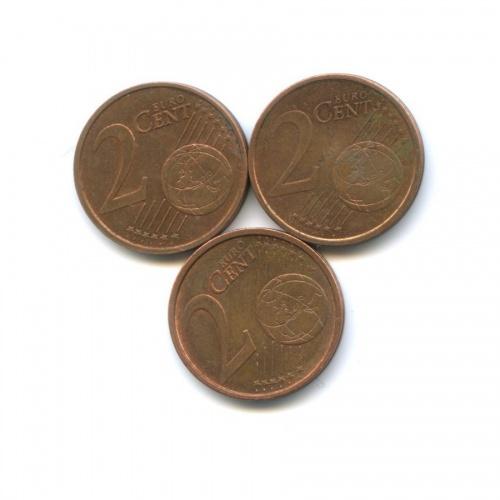 Набор монет 2 цента (Германия, Франция) 2001, 2006