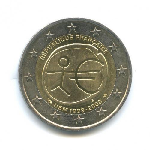 2 евро — 10-летие монетарной политики ЕС (EMU) ивведения евро 2009 года (Франция)