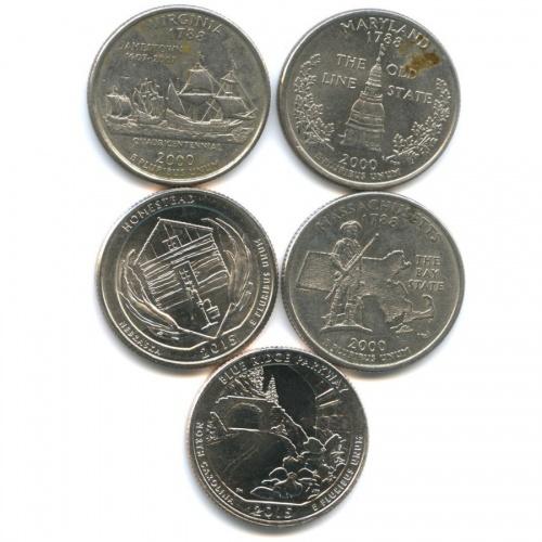 Набор юбилейных монет 25 центов (квотер) 2000, 2015 (США)