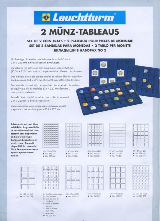 Набор планшетов для монет (70 ячеек)