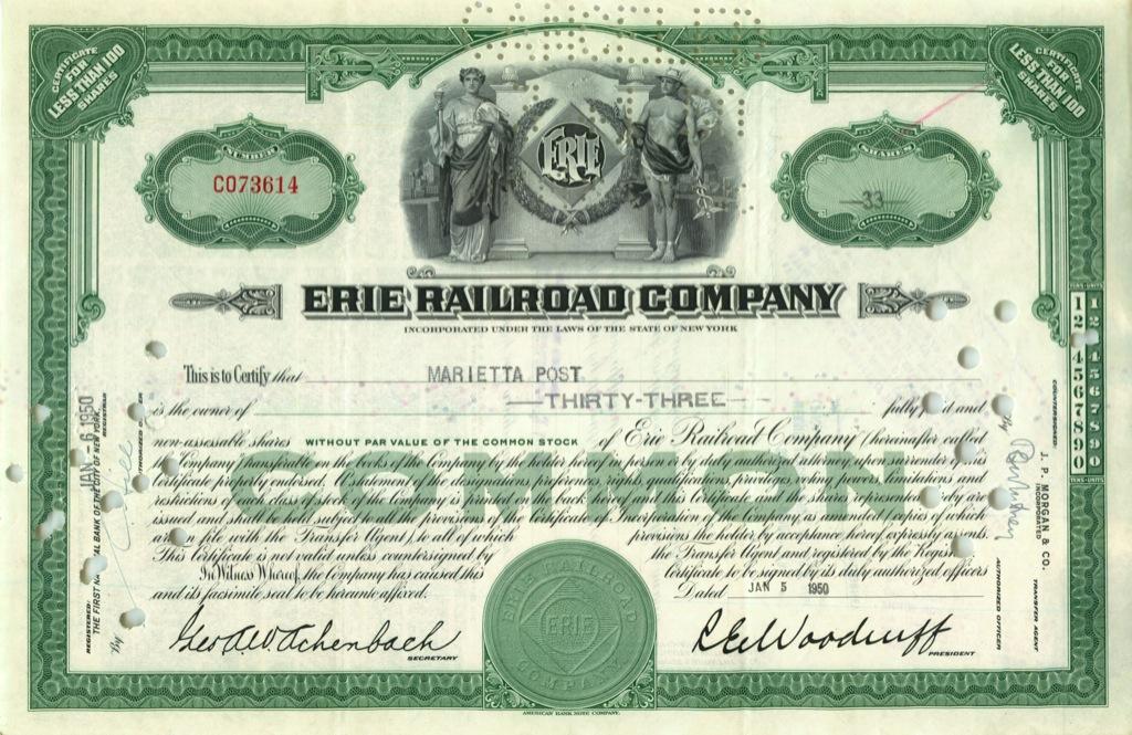 33 акции «Erie Railroad Company» 1950 года (США)