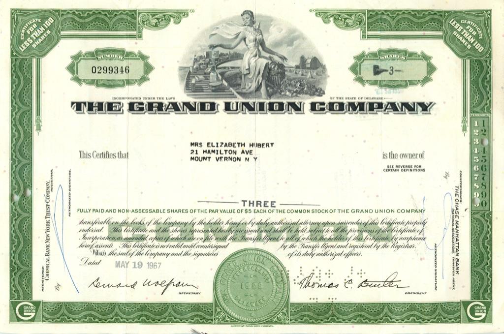 3 акции «The Grand Union Company» 1967 года (США)
