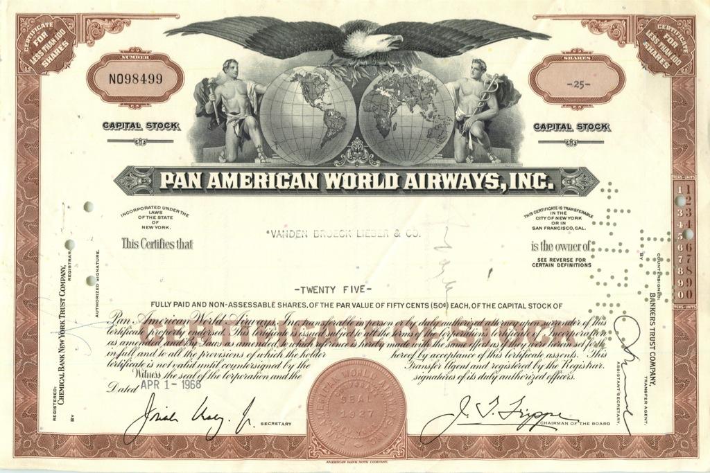 25 акций «Pan American World Airways, Inc» 1966 года (США)