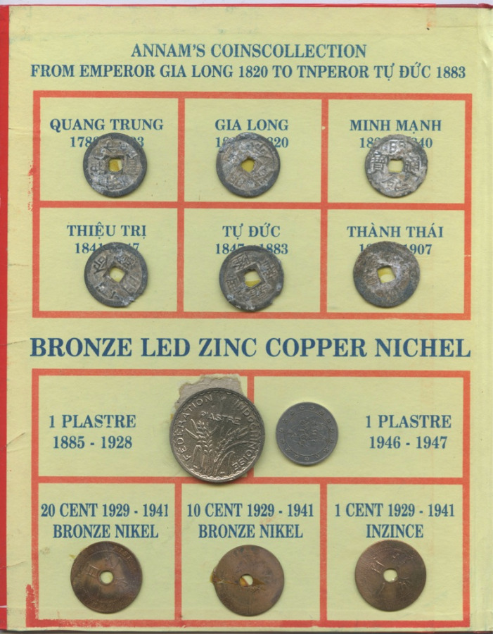 Набор монет, разные страны (наклее, вальбоме)