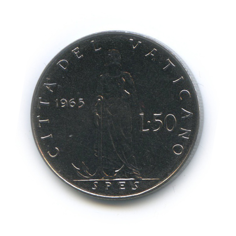 50 лир - Фигура Надежды 1965 года (Ватикан)