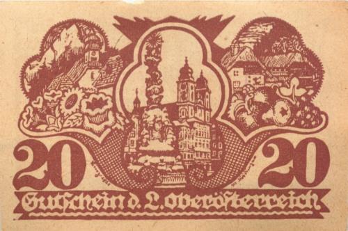 20 геллеров, г. Линц (нотгельд) 1921 года (Австрия)