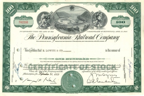 100 акций «The Pennsylvania Railroad Company» 1959 года (США)
