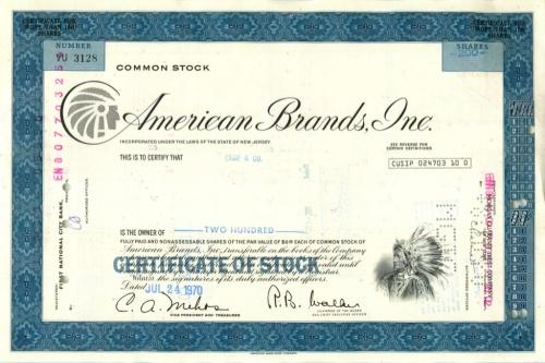 200 акций «American Brands, Inc» 1970 года (США)