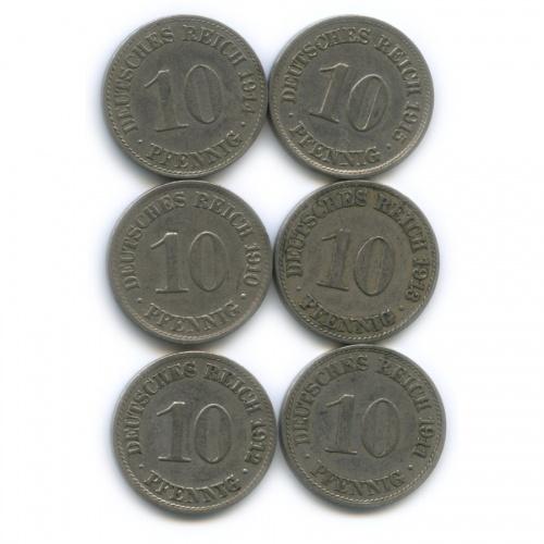 Набор монет 10 пфеннигов 1910-1915 (Германия)