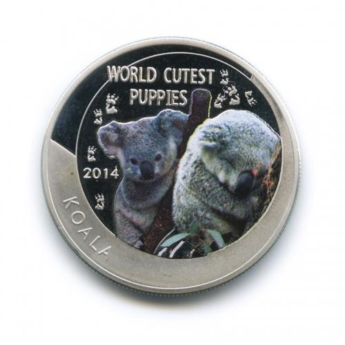 1 доллар - Мир симпатичных детенышей животного мира - Коала, Ниуэ (серебрение, цветная эмаль) 2014 года