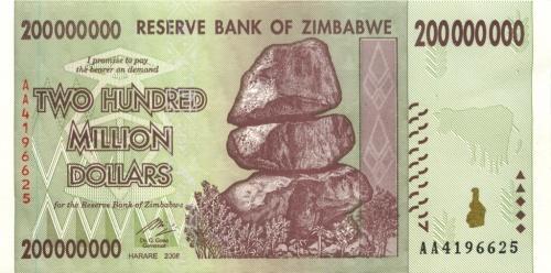 200 миллиона долларов (Зимбабве) 2008 года