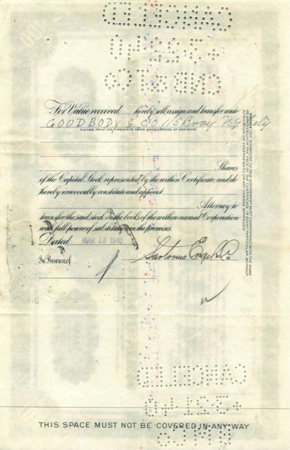 100 акций («Bond Stores, Incorporated») 1940 года (США)