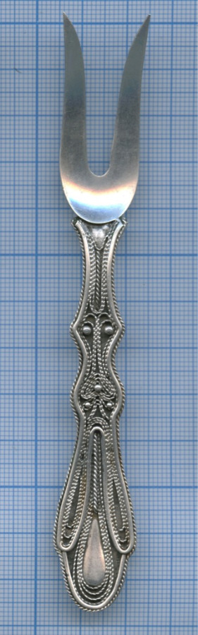 Вилочка «скань» (875 проба серебра, до1958 г., 15,91 гр., редкая, 13 см) (СССР)
