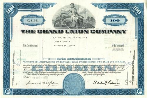 100 акций («The Grand Union Company») 1970 года (США)