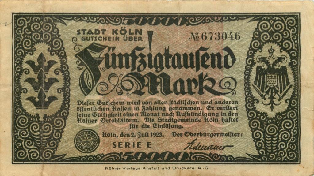 50000 марок (Келн) 1923 года (Германия)
