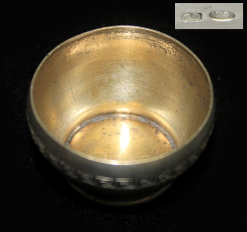Солонка (серебро 875 пробы, до1958 г., 17,9 гр., диаметр 4 см) (СССР)