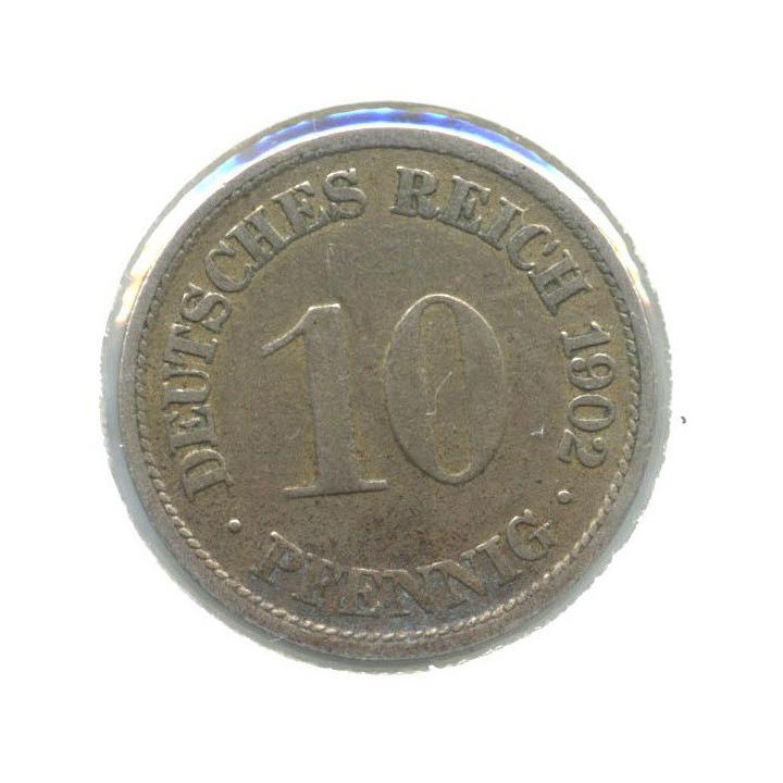 10 пфеннигов (вхолдере) 1902 года F (Германия)