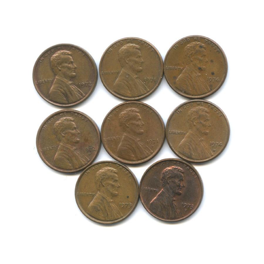 Набор монет 1 цент 1971-1974 (США)
