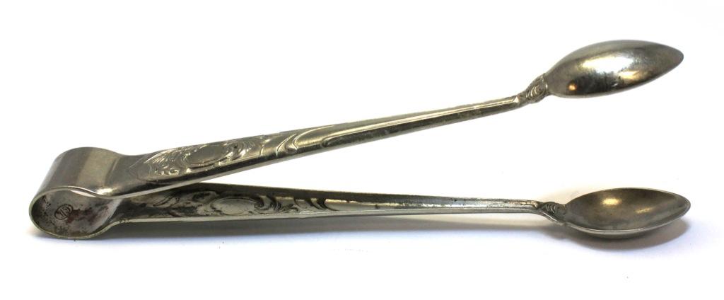 Щипцы для сахара (клеймо «ЛЕНЭМАЛЬЕР», латунь, серебрение, 15,5 см) (СССР)