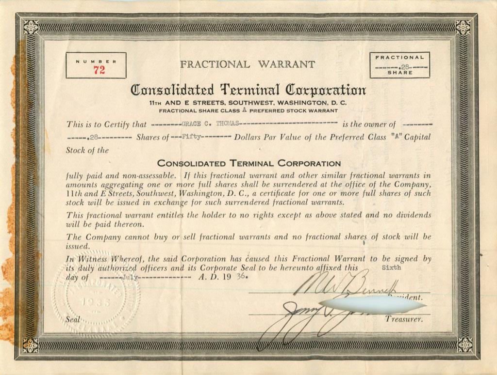 28 акций («Consolidated Terminal Corporation») 1936 года (США)