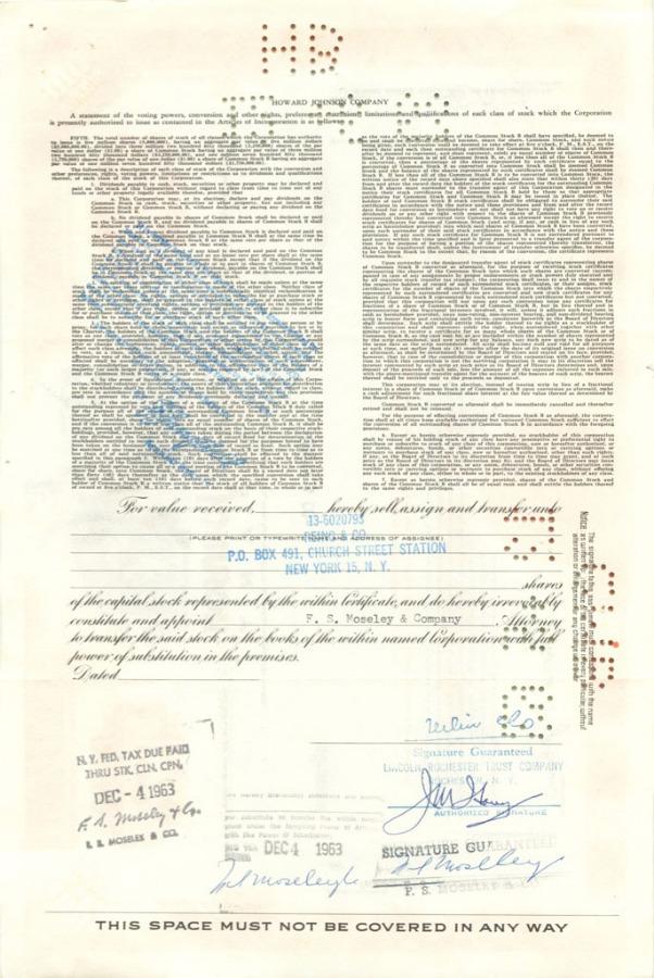 100 акций («Howard Johnson Company») 1962 года (США)