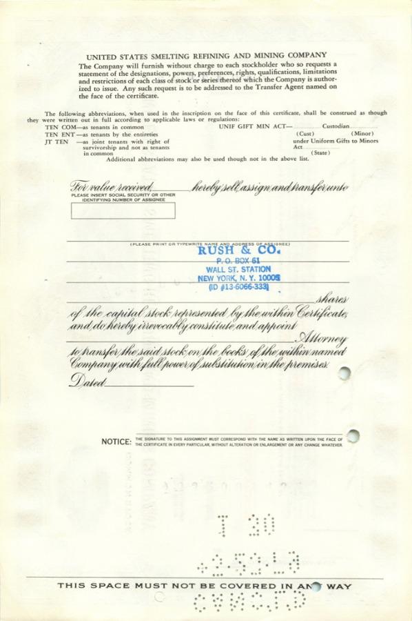 1 акция («United States Smelting Refining And Mining Company») 1974 года (США)