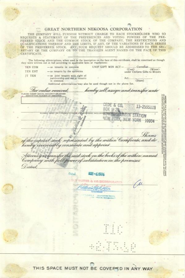 50 акций «Great Northern Nekoosa Corporation» 1976 года (США)