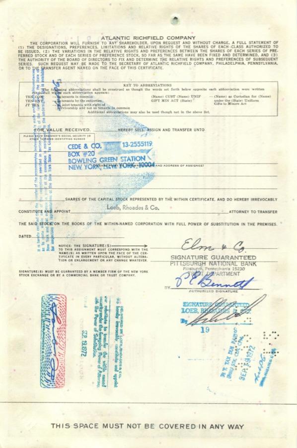 100 акций «Atlantic Richfield Company» 1971 года (США)