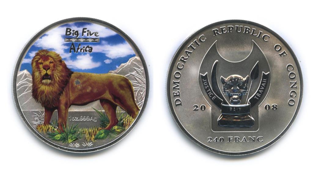 240 франков - Большая пятерка животных Африки - Лев, Республика Конго (вцвете, воригинальной коробке, ссертификатом) не большие потертости 2008 года