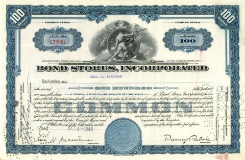 100 акций («Bond Stores, Incorporated») 1948 года (США)