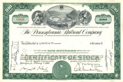 100 акций «The Pennsylvania Railroad Company» 1960 года (США)