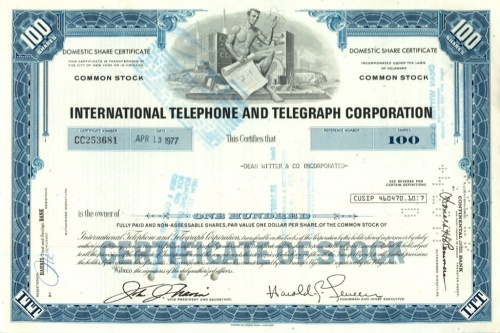 100 акций «International Telephone and Telegraph» 1977 года (США)