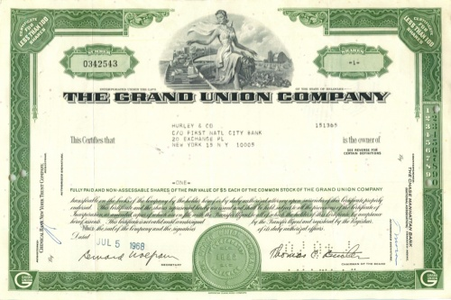 1 акция «The Grand Union Company» 1968 года (США)