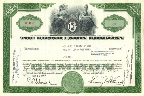 30 акций «The Grand Union Company» 1957 года (США)