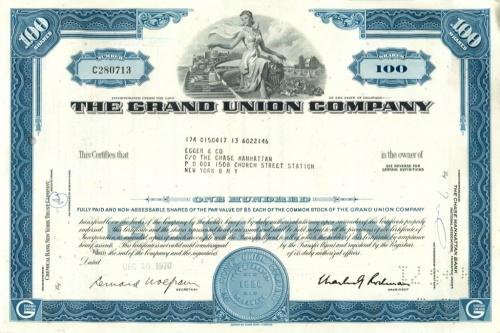 100 акций «The Grand Union Company» 1970 года (США)