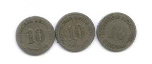 Набор монет 10 пфеннигов 1874-1876 (Германия)