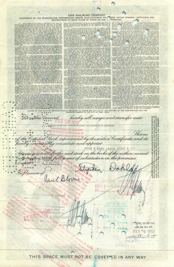 10 акций «Erie Railroad Company» 1949 года (США)