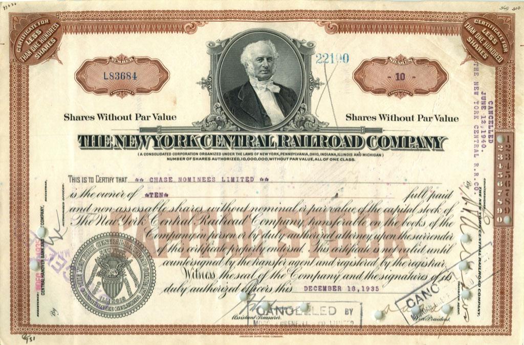 10 акций «The New York Central Railroad Company» 1935 года (США)