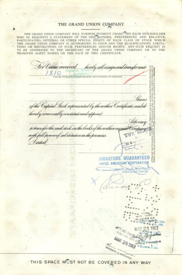 10 акций «The Grand Union Company» 1960 года (США)