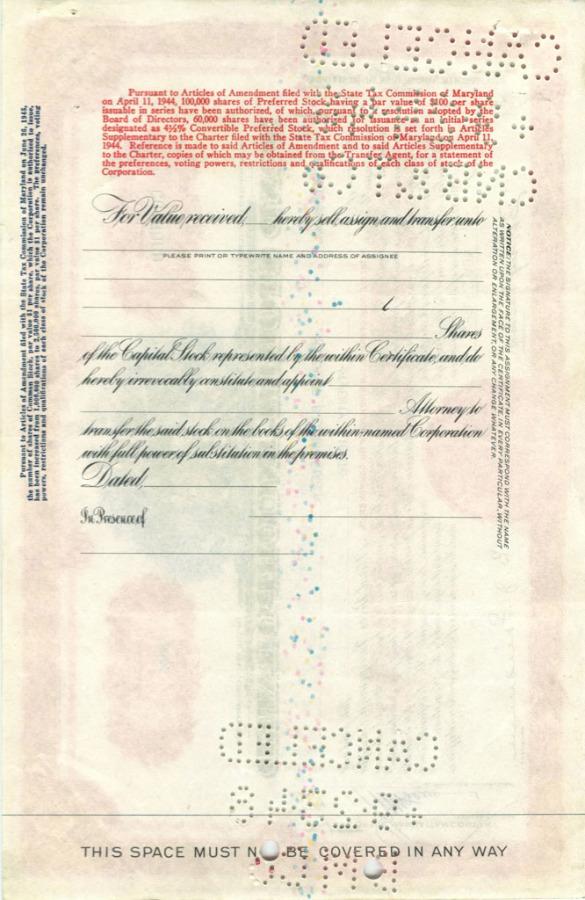 28 акций «Bond Stores, Incorporated» 1945 года (США)