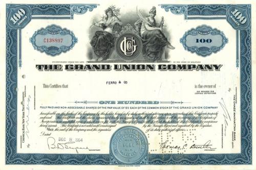 100 акций «The Grand Union Company» 1964 года (США)